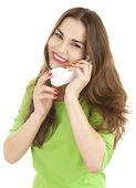 Mutlu kız telefonu — Stok fotoğraf