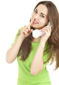 Stille meisje houden op de telefoon — Stockfoto