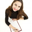 Writing female student - Stock Photo