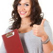 Stock Photo: Student girl with thumb up