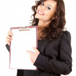 Businesswoman with blank clipboard — 图库照片