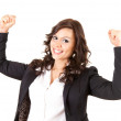 Businesswoman with raised arms — Foto de Stock