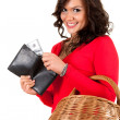 Shopping girl with money — Stock Photo #10055392