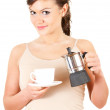 Young woman with coffee — Stock Photo