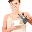 Stock Photo: Beautiful housewife with coffee