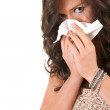 Girl with a runny nose — Stock Photo