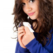 Sad young woman with tissue — Stock Photo