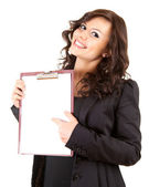 Businesswoman with blank clipboard — Stock Photo