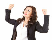 Businesswoman with raised arms — Stock Photo