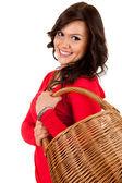 Hasır sepet ile alışveriş kız — Stok fotoğraf