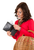 Shopping girl with money — Stock Photo