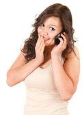Chica sorprendida en el teléfono — Foto de Stock
