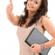 Woman with laptop and thumb up - Stock Photo
