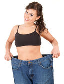Weight loss happy woman — Stock Photo