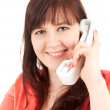Smiling young woman on the phone — Foto de Stock