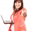 Royalty-Free Stock Photo: Fat businesswoman with thumb up
