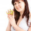 Fat woman with orchid flower — Stock Photo