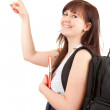Smiling student woman pointing up — Stock Photo #10402021