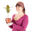 Cheerful woman with plant in pot — Stock Photo #10402119