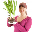 Young woman with plant — Stock Photo #10402157