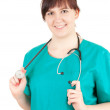 Overweight woman doctor - Stock Photo