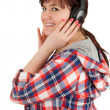 Overweight girl in headphones — Stock Photo