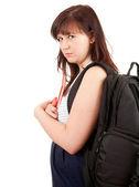 Serious pregnant student woman — Stock Photo