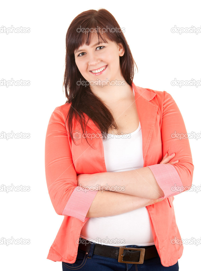 Standing cheerful fat young woman with folded armd, white background — Stock Photo #10400083