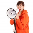 Yelling woman with megaphone — Stock Photo #10574290