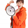 Shouting woman with megaphone — Stock Photo