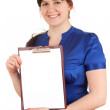 Fat woman with blank clipboard — Stock Photo #10574340