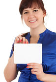 Overweight woman with blank sign — Stock Photo