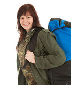 Tourist girl with backpack — Stock Photo