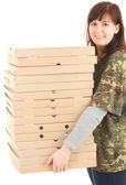 Young woman with boxes of pizza — Stock Photo