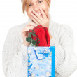 Gir with present bag — Stock Photo #9371148