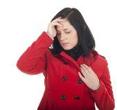 Ung kvinna med smärta, huvudvärk — Stockfoto