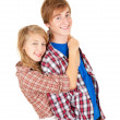 Cuddling teenage couple — Stock Photo