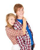 Genç çift sarılma — Stok fotoğraf