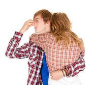 Mulher e homem abraços — Foto Stock