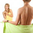 Teenage couple in towels — Stock Photo #9632185