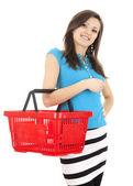 Nákupní mladá žena — Stock fotografie