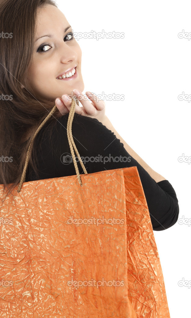 Young woman with shopping bag, white background — Stock Photo #9631485