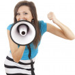 Stock Photo: Screaming girl with megaphone