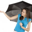 Stock Photo: Young womwith umbrella