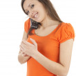 Stock Photo: Young woman on the phone