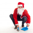 Cleaning man in christmas clothes — Stockfoto