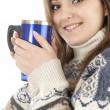 Girl with mug of coffee — Stock Photo