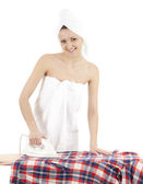 Ironing young woman — Stock Photo