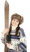 Girl with old wooden skis — Stock Photo