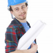 Male architect with blueprint — Stock Photo #9759069
